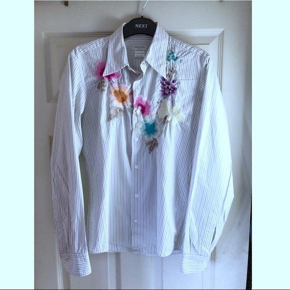 090b707303777 Dries Van Noten Tops - Dries Van Noten floral embroidered striped shirt.